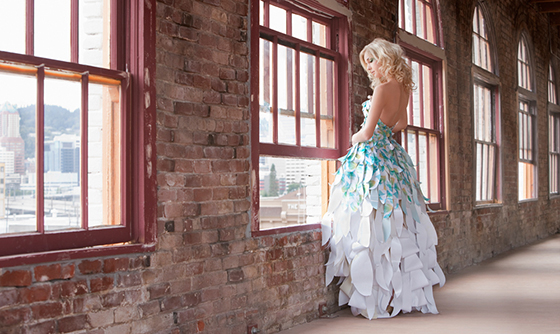 Dahlia and Butterfly Paper Dress