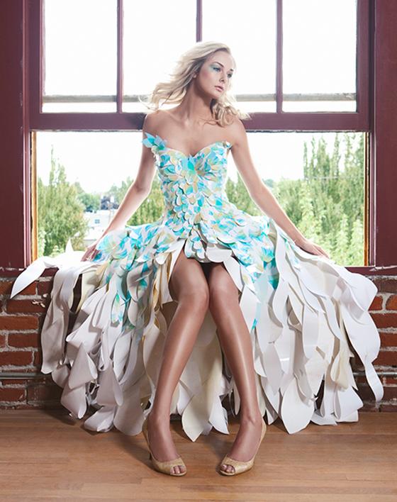 Dahlias and Butterflies Paper Dress