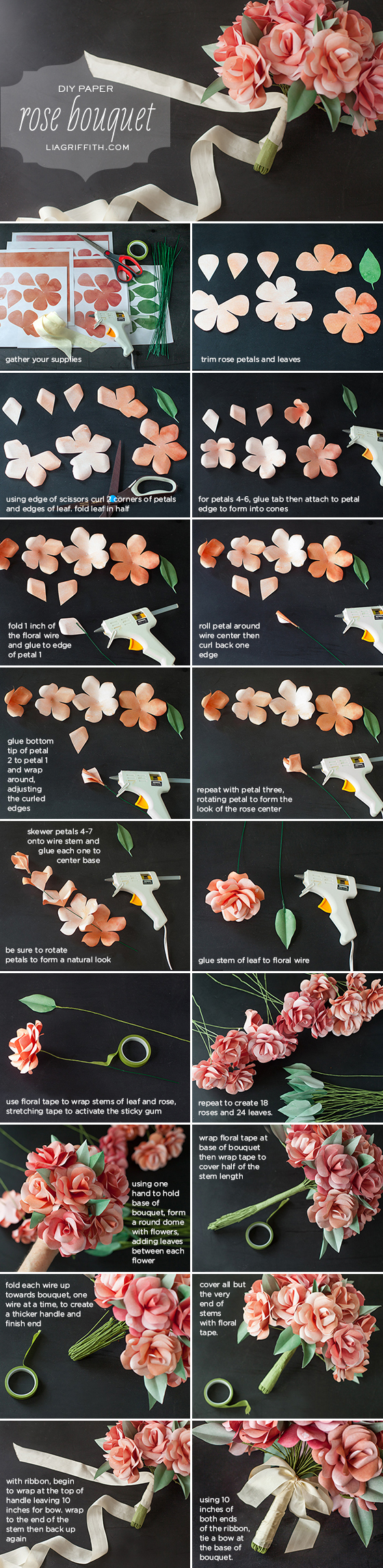 Photo tutorial for paper rose wedding bouquet by Lia Griffith