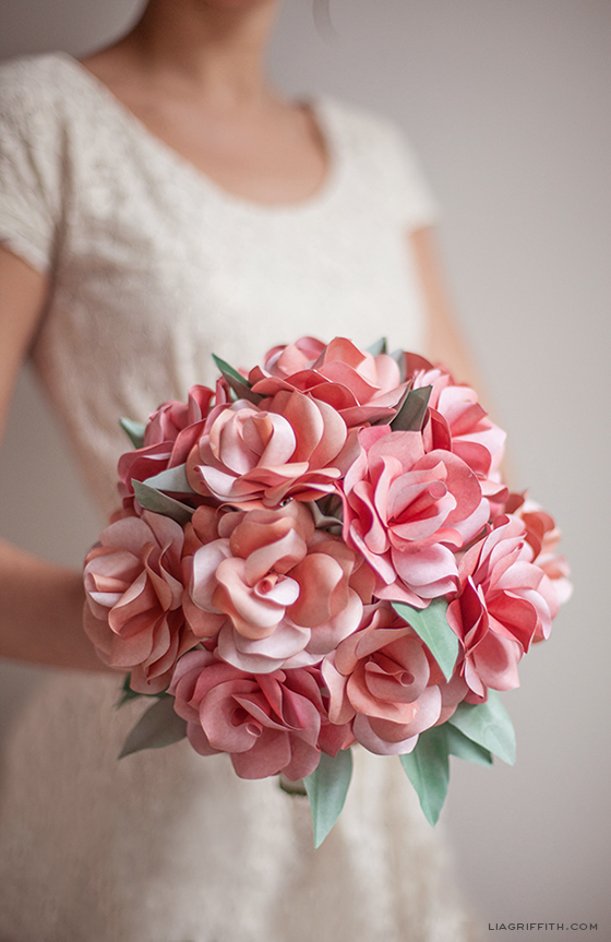 Paper Rose Wedding Bouqet