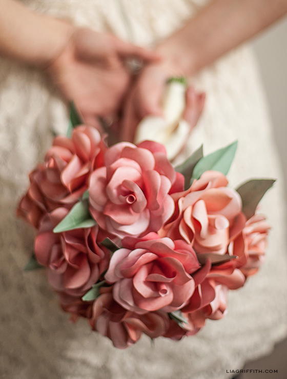 Woman Holding Paper Rose Wedding Bouquet
