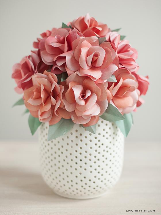 Pink paper roses in pot