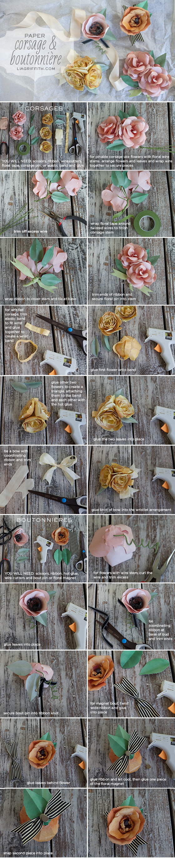 Paper DIY Corsage and Boutonniere