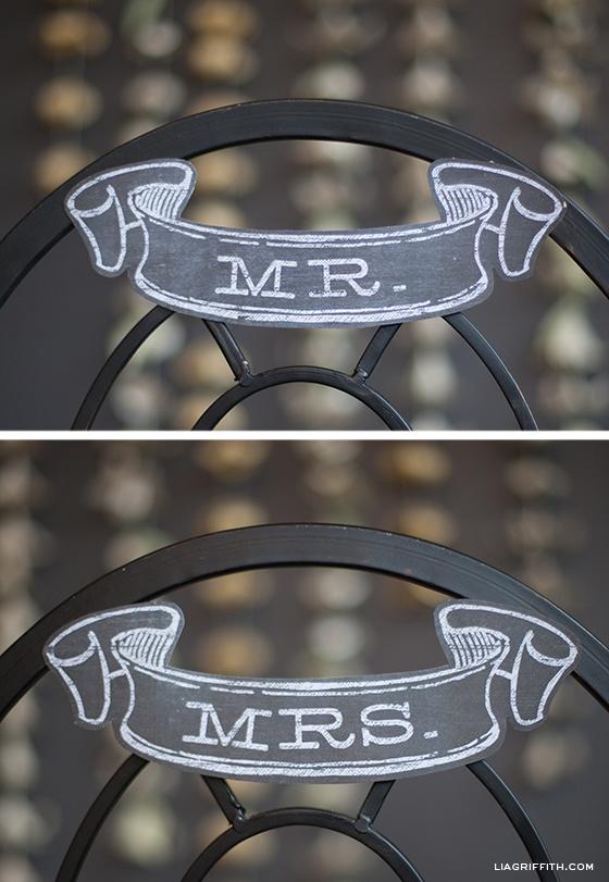 Mr and Mrs Chalkboard Wedding Banner
