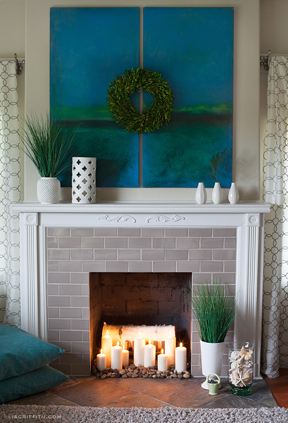 Summer Fireplace Styling