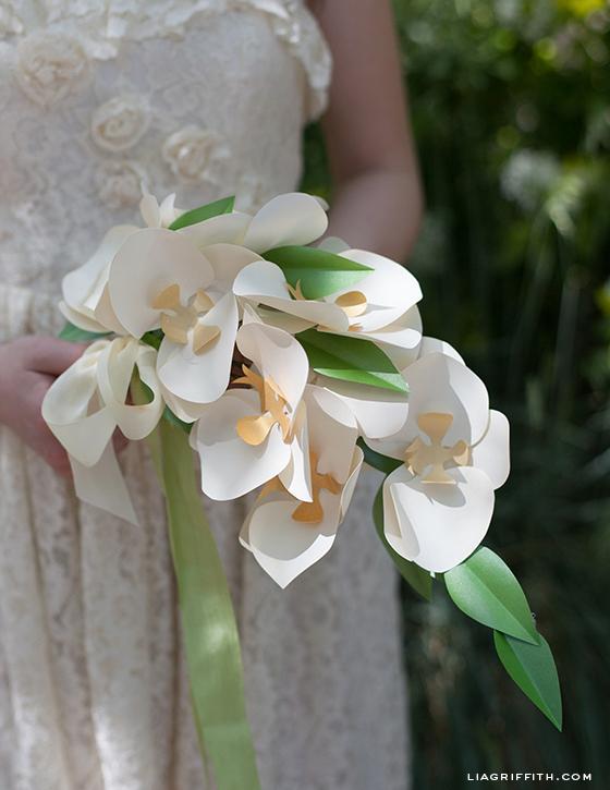 Paper Orchid Cascading Bouquet