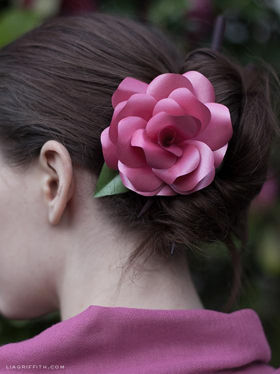 Paper Rose Hair Flower