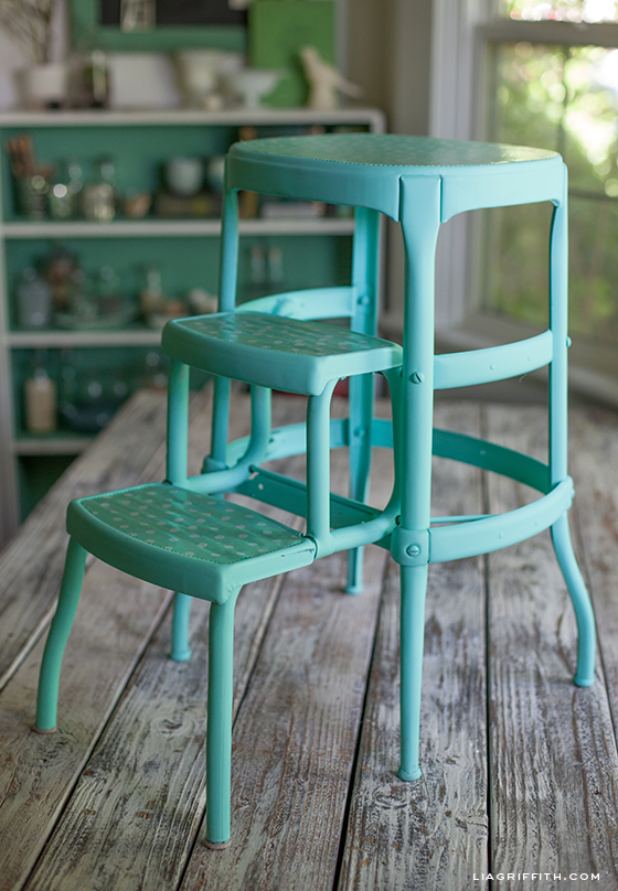 Vintage Stool Updated Teal
