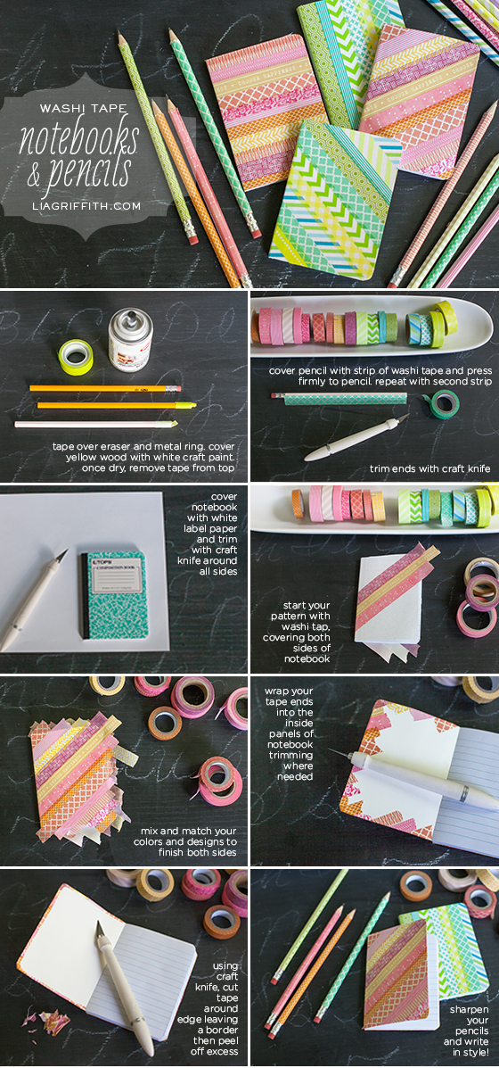 Washi Tape Pencil Notebook Tutorial