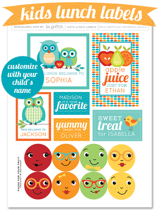 Printable Lunch Label Sheet
