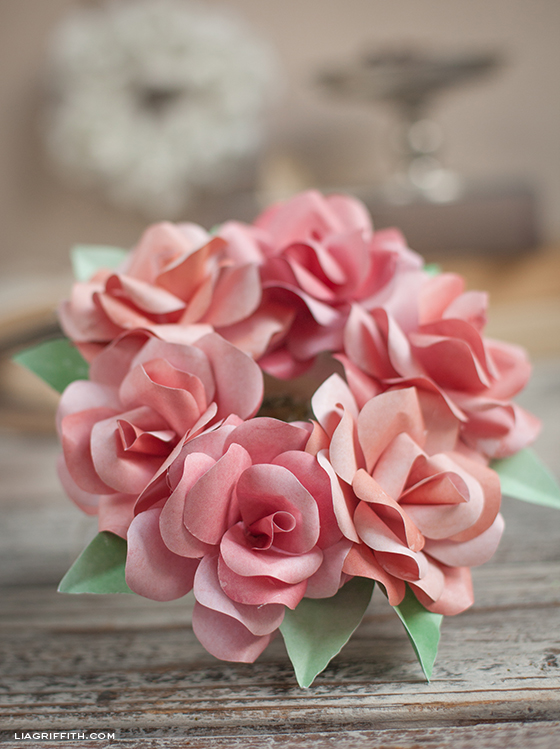 Pink Paper Rose Mini Wreath