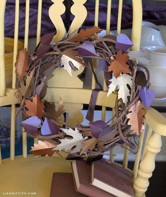 Fall Paper Leaf Wreath DIY