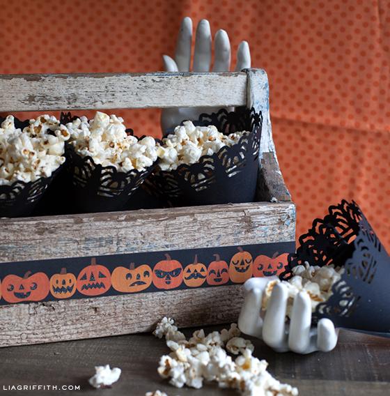 Spider Doily Popcorn Cones