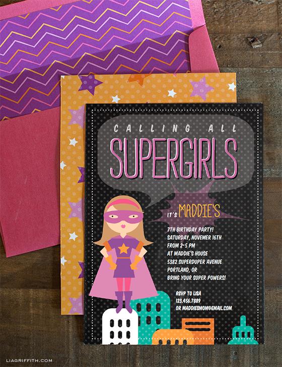 Supergirl Birthday Party Invitation Printable