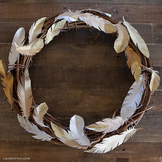 Paper feather wreath with gold and silver glitter