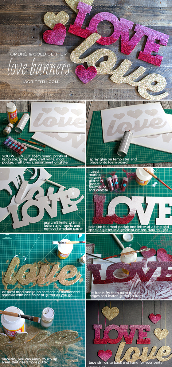 Glitter Love Banners Tutorial