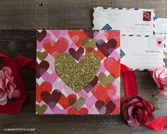DIY Glittery Heart Art