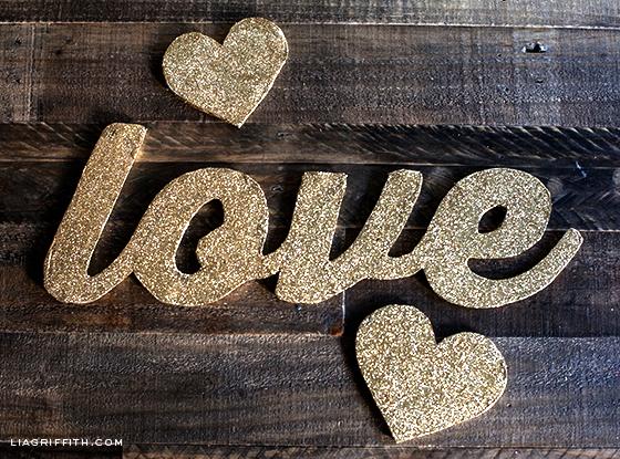 Gold Glitter Love Banner