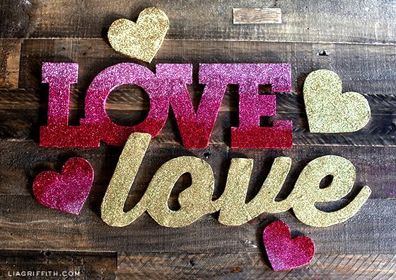 Gold Ombre Glitter Love Banner