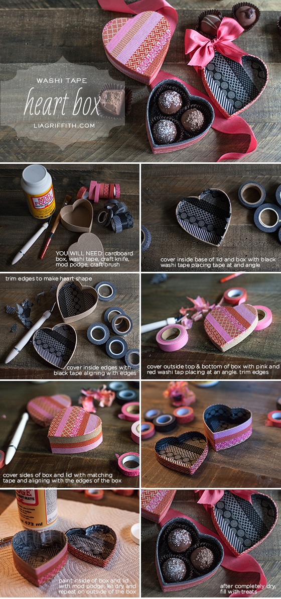 Washi Tape Heart Box photo tutorial by Lia Griffith
