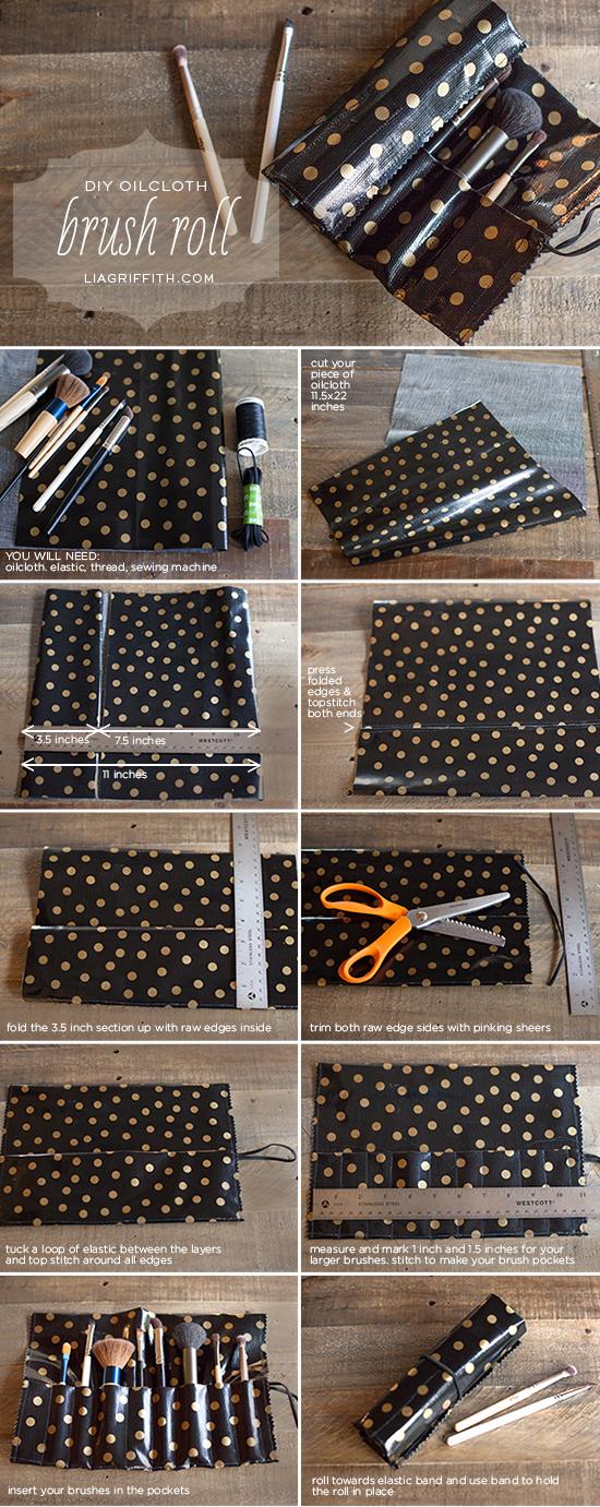 DIY Oil cloth Brush Roll Tutorial