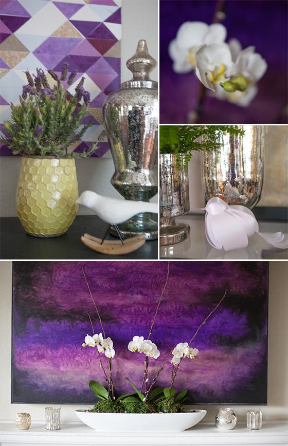 Plum artwork, flowers, and birds living room decor