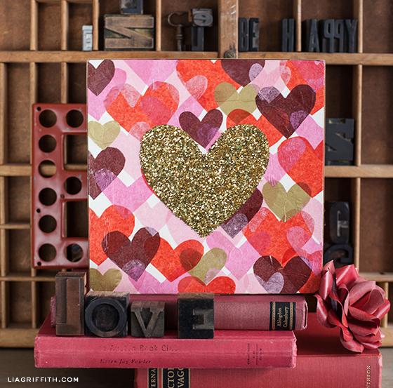 Tissue Glitter Heart Art