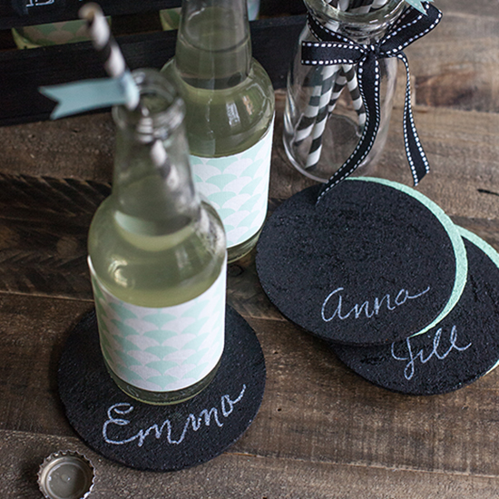 Chalkboard Coasters From Cork And Paint