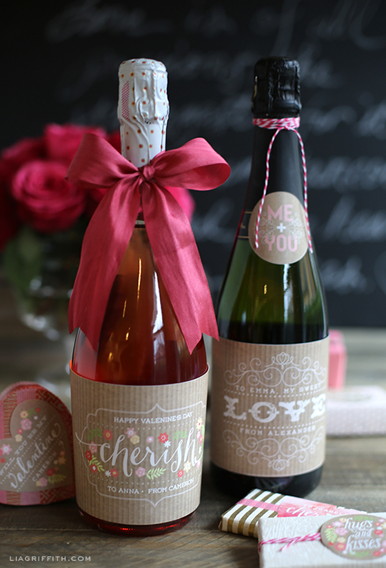 Champagne Labels Valentines Day