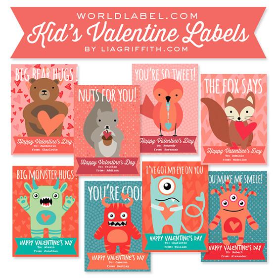 Kids Valentines Day Labels