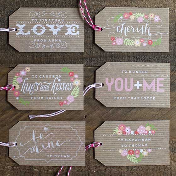 Handmade Set of 6 Valentine/'s Day With Love Gift Tags