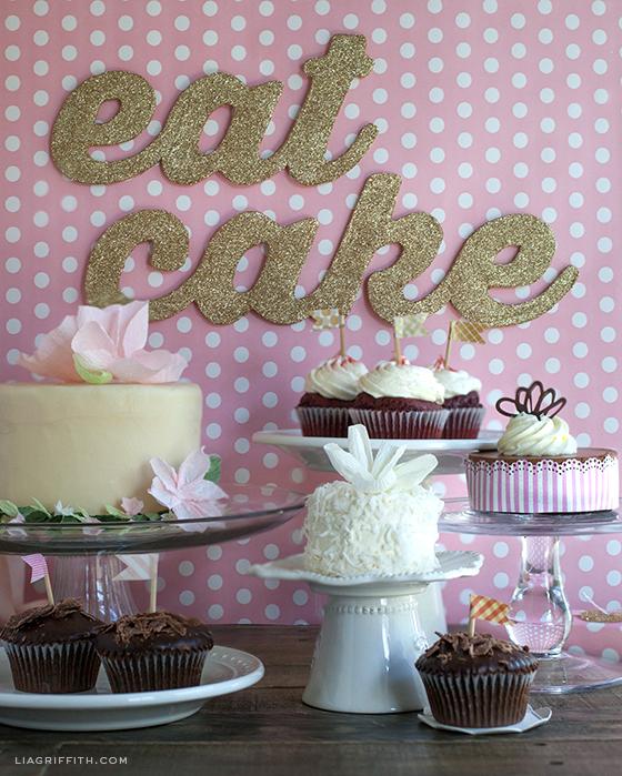 Eat Cake Glitter Sign