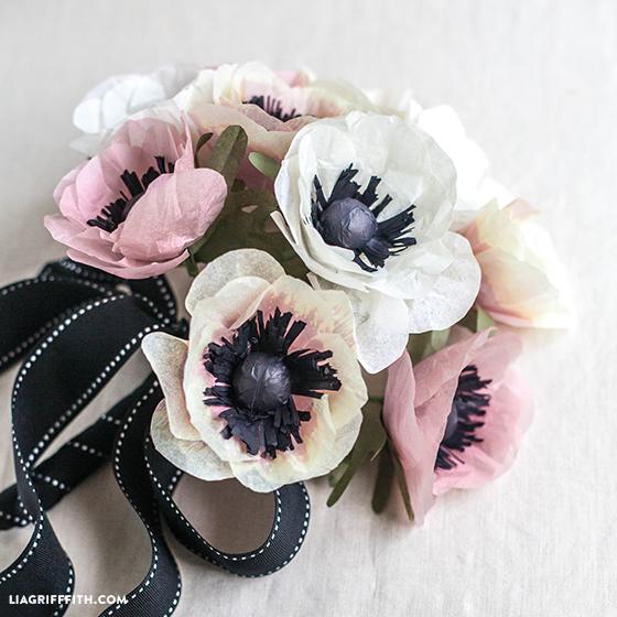 DIY Bouquet of Tissue Paper Anemone Flowers