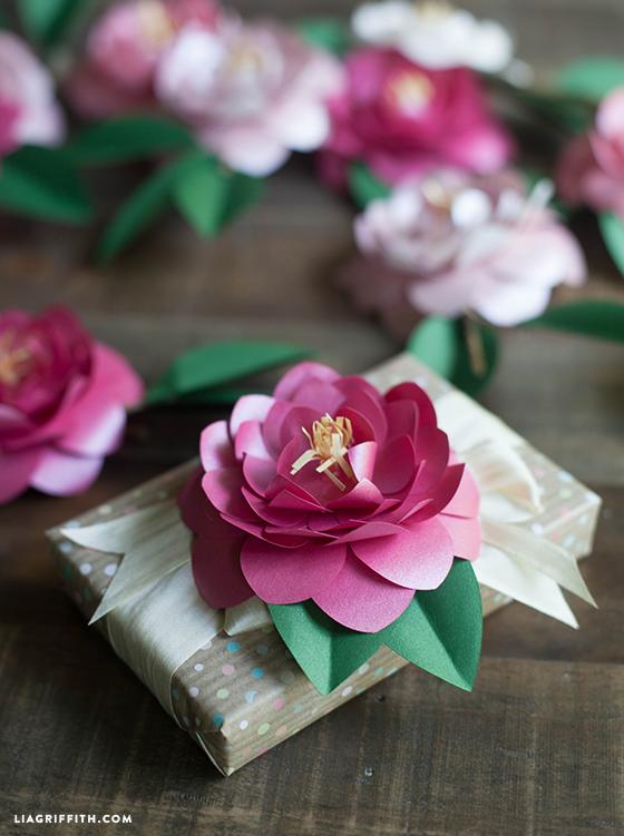 Pretty paper flower gift topper