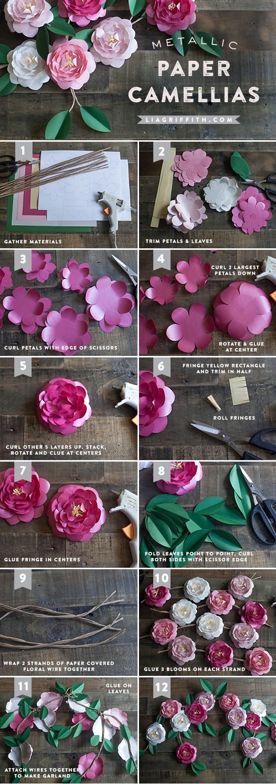 DIY paper Camellias flower tutorial