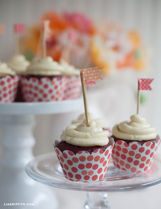 gluten-free red velvet cupcakes with cupcake toppers