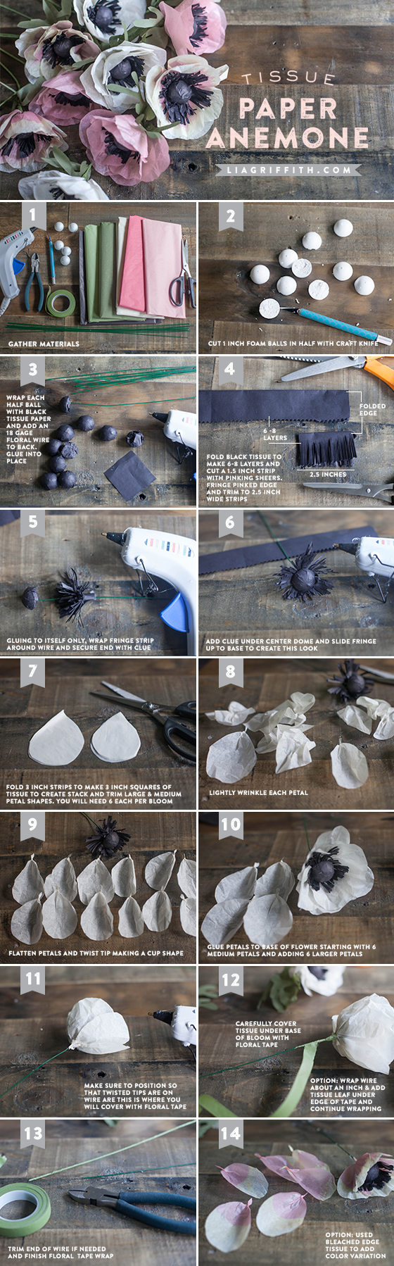 DIY Tissue Paper Anemone Tutorial
