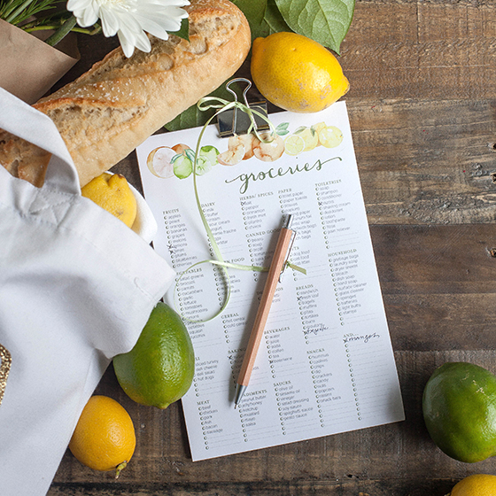 editable grocery list organization