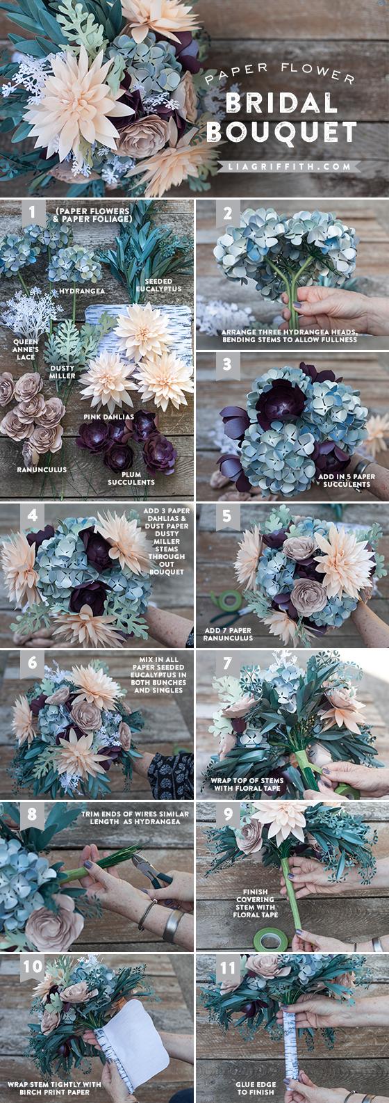 Paper flower bridal bouquet tutorial @LiaGriffith.com
