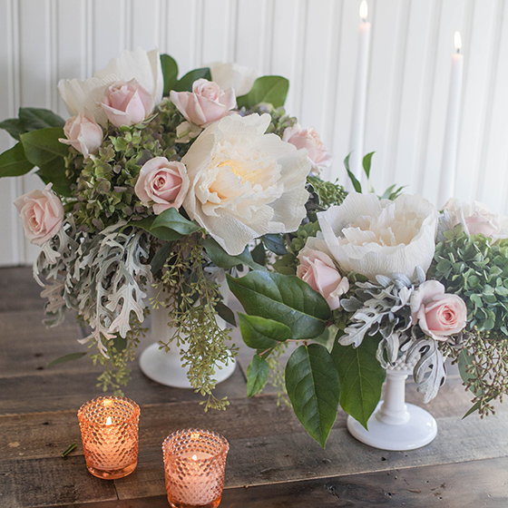 Dyi Crepe Paper And Fresh Flower Centerpieces