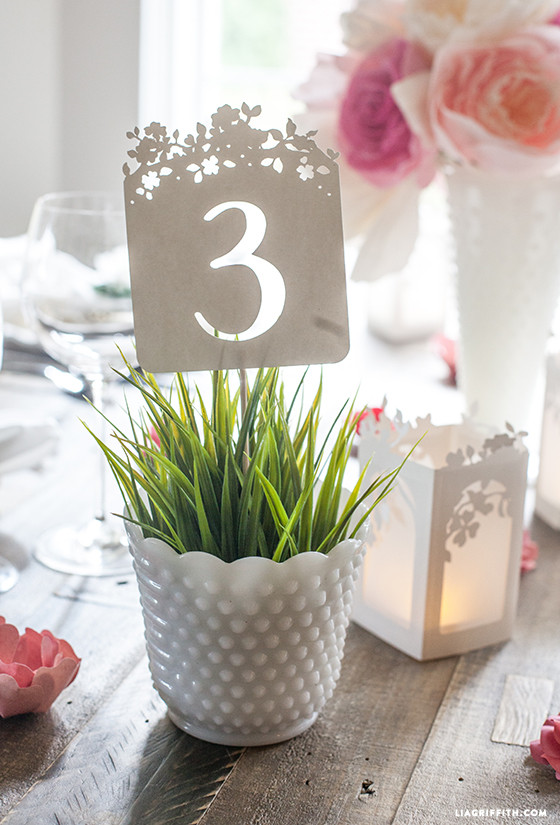 spring blossom wedding table numbers