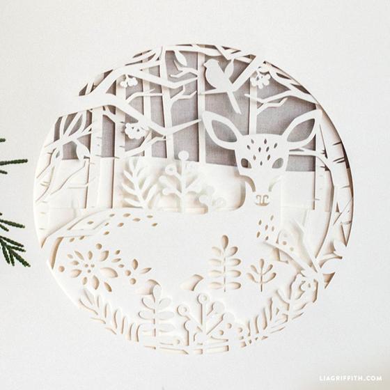 papercut winter deer design