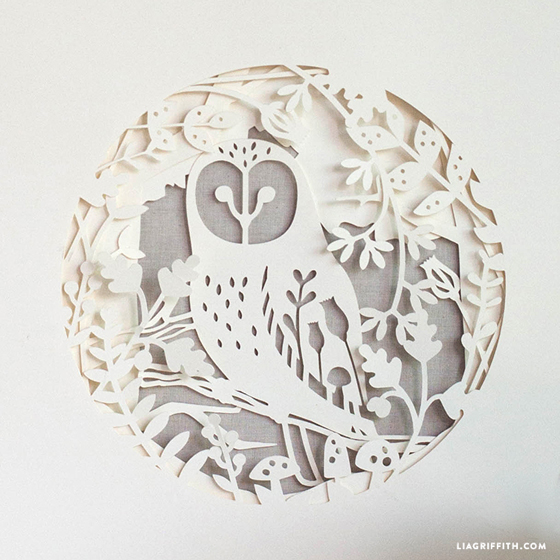 papercut fall owl artwork