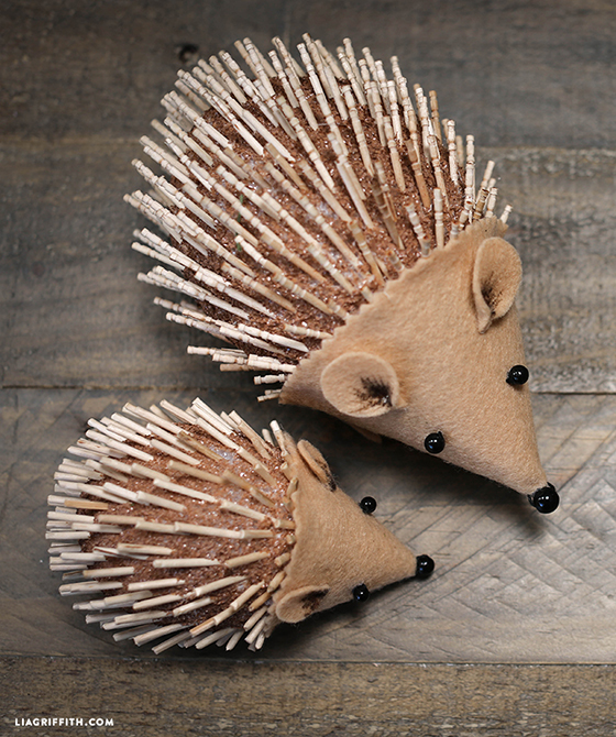 mom and baby hedgehog made from foam, felt, and toothpicks