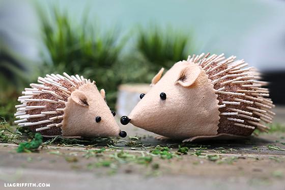 felt and foam hedgehogs outside