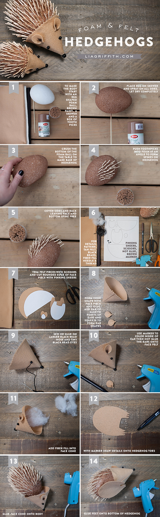 Step by step photo tutorial for DIY hedgehog by Lia Griffith
