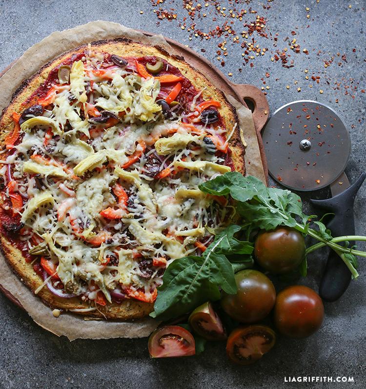 gluten-free pizza crust made from cauliflower
