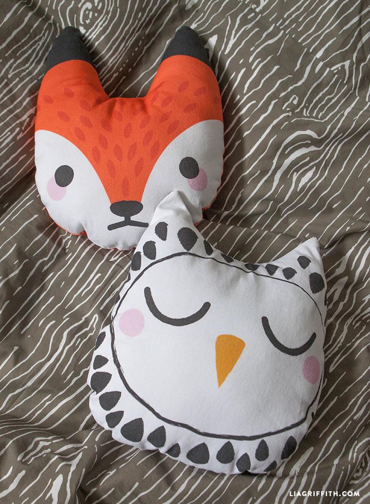 fox and owl woodland throw pillows