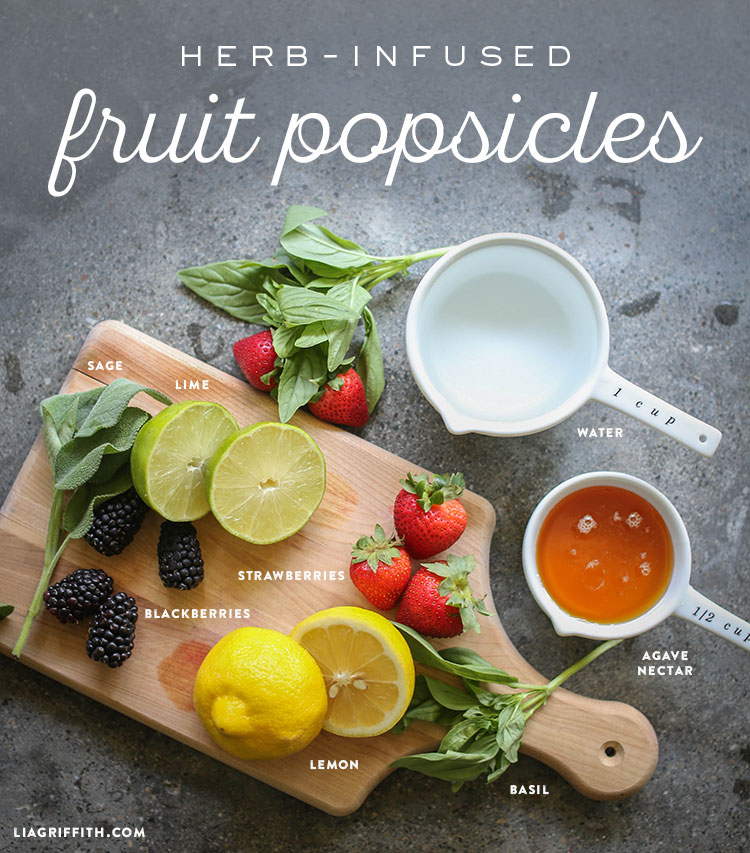 Ingredients for herb-infused fruit popsicles