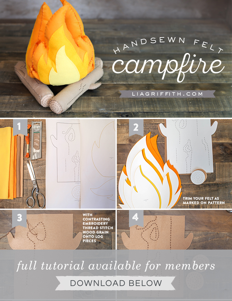 DIY step by step photo tutorial for handsewn felt campfire by Lia Griffith
